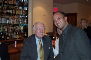 [Photo: Walter Cronkite and Mitch Goldstone in NYC, April, 2001]